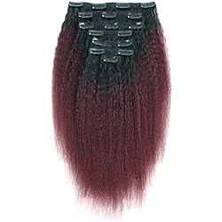 AmazingBeauty 8A Italian Perm Yaki Kinkys Straight Ombre Double Weft Human Hair Clip Extension for Black Women, Natural Black Fading into Cherry Wine, 7 Pieces, 115 Grams, KS TN/99J, 12 Inch