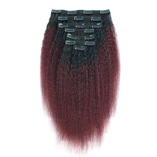 AmazingBeauty 8A Italian Perm Yaki Kinkys Straight Ombre Double Weft Human Hair Clip Extension for Black Women, Natural Black Fading into Cherry Wine, 7 Pieces, 115 Grams, KS TN/99J, 12 Inch ()