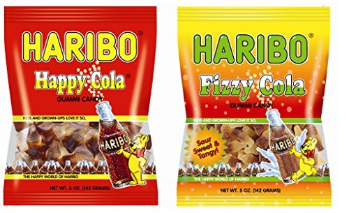Haribo Happy Cola & Fizzy Cola Sour Gummi Candy Combo Pack - 5 oz. Bags (Pack of 2)