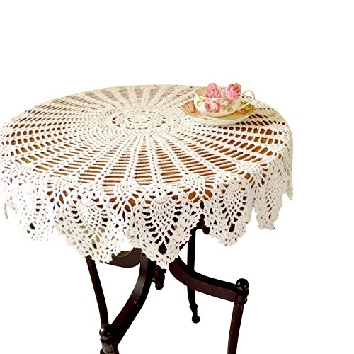 36' Table Runner (Handmade Crochet Cotton Lace Table Sofa Doily Round Pineapple Flower Table Cloth Doilies Cover for Furniture Weddings Decor White ZQ04 (36 Inch))