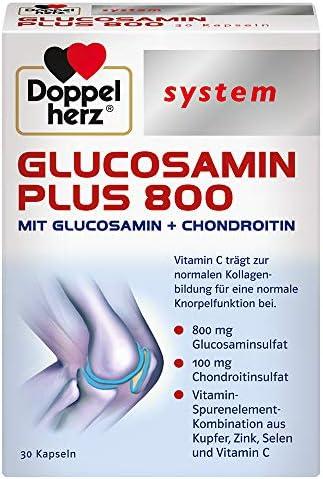 Doppelherz system GLUCOSAMIN 800 PLUS – Mit Vitamin C als Beitrag zur normalen Kollagenbildung für eine normale Knorpelfunktion – 120 Kapseln