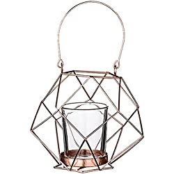 Bloomingville A27400089 Copper Metal Geometric Votive Holder with Glass Insert and Handle