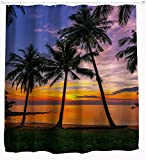 Beach Shower Curtain by Goodbath, Ocean Seascape Tropical Palm Tree Sunset Bathroom Decor Waterproof Fabric Bathroom Curtains, 72x72 Inch Dark Green Orange Blue Purple