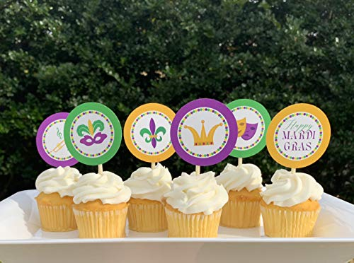 Mardi Gras Cupcake Toppers (12pc)