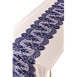 "Crisky 14"" x 120"" Navy Blue Lace Table Runners Lace Overlay with Rose Vintage Embroidered, Thin, Rustic Romantic Wedding Decor, Bridal Baby Girl Shower Decoration"