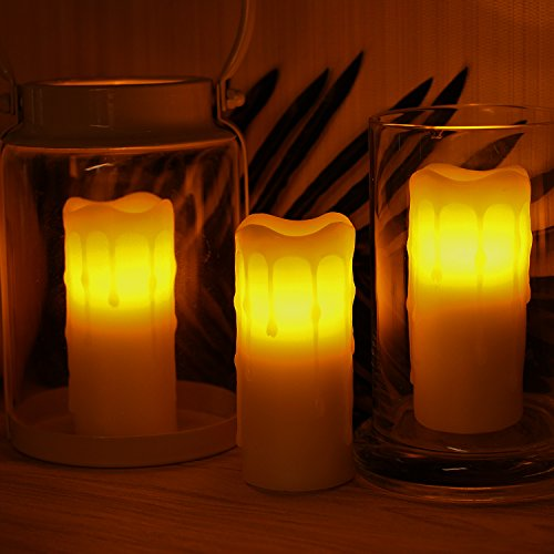 ripping Wax Flameless Votive Candle with Timer,Battery-Operated,Ivory,1.75x4