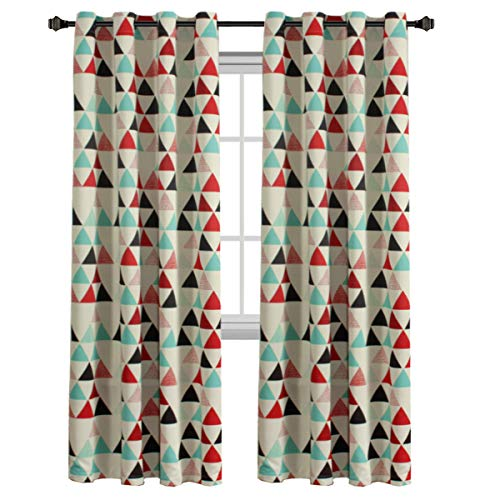 H.VERSAILTEX Geometry Triangle in Red/Beige/Stone Blue Pattern Blackout Kids Room Window Curtains, Antique Copper Grommets, 52 inch Wide by 84 inch Long - 1 Panel
