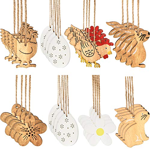 Zhanmai 32 Pieces Easter Wooden Tag Hanging Pendant Party Hanging Ornament Hanging Decoration with Easter Egg Bunny Flower Shape for Kids Craft Party Supplies