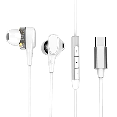 AOLVO USB Tipo C Auriculares para Moto Z Series/Z Force, Huawei Mate 10/Pro, Xiaomi Mi 6/Mix 2/Note 3, Dual Dynamic Drivers In-Ear Estereo Cascos con ...