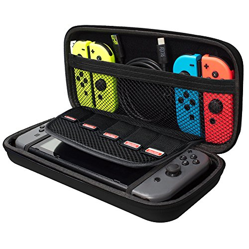 Nintendo Switch Case, Akmac Hard Carrying Case for Nintendo Switch with Game Cartridge Holders with Zipper Protective Travel Case (Black)
