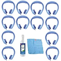 Hamilton Buhl Flex-Phones, Foam Kids Headphones & Cleaning Kit (12-Pack, Blue)