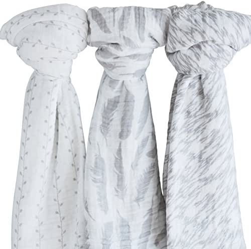 Muslin Swaddle Blanket 100% Soft Muslin Cotton 3 Pack 47