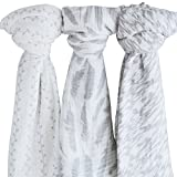 """Muslin Swaddle Blanket 100% Soft Muslin Cotton 3 Pack 47""""x 47"""" Classic Grey Combo Unisex for Baby Girl or Baby Boy"""