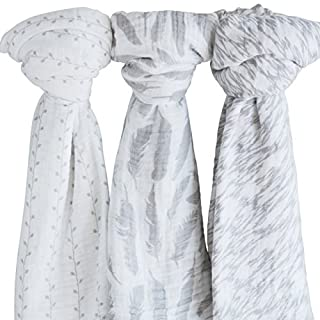 "Ely's & Co Muslin Swaddle Blanket 100% Soft Muslin Cotton 3 Pack 47""x 47"" Classic Grey Combo Unisex for Baby Girl or Baby Boy"
