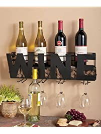 premium black wall mount metal wine rack