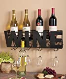 "Premium Black Wall Mount Metal Wine Rack With ""Wine"" Word By Besti – Hanging Bottle & Corks, Wine Glasses Holder Storage, Decorative Display – Sturdy Construction – Home Décor For Living Room Or Kitchen"
