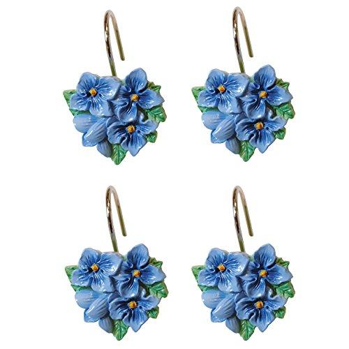 Lenox Shower Curtain Hooks, Blue Floral - Ring Set Lenox