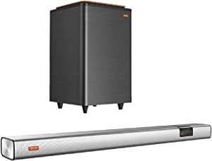 Listener Pro Soundbar and Subwoofer, 2.1 Wireless Soundbar with Powered Subwoofer, Home Theater Surround Sound Speaker for TV, HDMI ARC/Opt/COX/AUX/Bluetooth