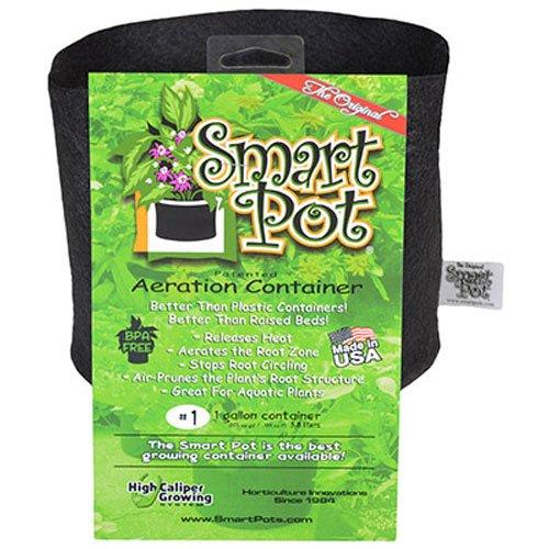 Smart Pots 1 Gallon Smart Pot Soft Sided Container  Black