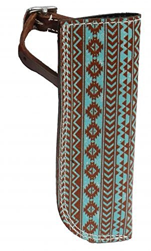 Navajo Leather Flag Carrier Holder. Attaches with Buckle Around Stirrup