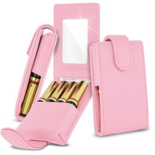 Celljoy Case for LipSense, Younique, Kylie Cosmetics, Liquid Lipsticks and Lip Gloss with Mirror - Fits 4 Tubes Mirror Card Slot - Travel Purse Storage (Lilac Pink)