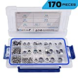 304 Stainless Steel Lock Nut Assortment 170 Pcs, M3 M4 M5 M6 M8 M10 M12 Nylon Insert Locknut