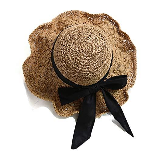 Foldable Light Brown Summer New Female Straw Hat Visor Big Hat Breathable Bow Crochet Pattern Beach Hat