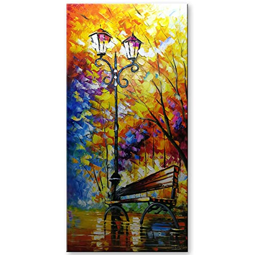 SHUAIDI Wall Arts Landscape Oil Painting on Canvas Lover Rain Street Tree Lamp Palette Knife Abstract Landscape Art Paintings Canvas Wall Art Modern Home Living Room Office Decor (SD007, 24x48inch)