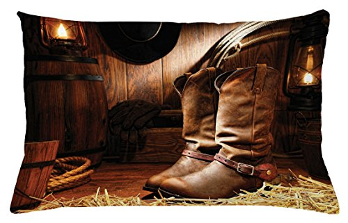 Lunarable Western Throw Pillow Cushion Cover, Wild West Theme Boots in Wooden Room Classical Folkloric Old Fashioned Wild Sports Theme, Decorative Accent Pillow Case, 26 W X 16 L Inches, Brown