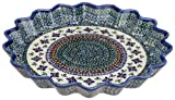 Bunzlauer Polish Pottery 12.5-Inch Fluted Pie Dish, DU60 Design
