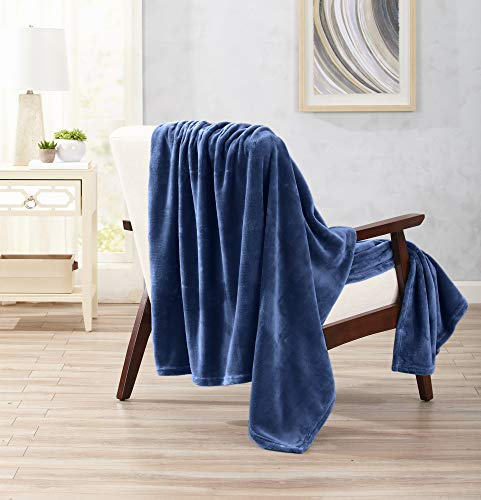 Home Fashion Designs Ultra Velvet Plush Super Soft Oversize Throw Blanket. Lightweight, Warm Blanket in Solid Colors. Marlo Collection Brand. (Navy) -