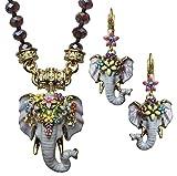 KIRKS FOLLY ELEPHANT WALK 3 PIECE MAGNETIC NECKLACE & EARRINGS SET goldtone / Cosmic Moonlight necklace
