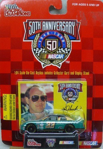 1998 - Racing Champions - NASCAR 50th Anniversary - Ken Schrader - No. 33 APR Chevrolet Monte Carlo - 1:64 Scale Die Cast Replica Car, Collectible Card and Display Stand