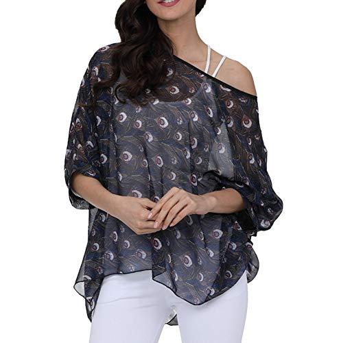 - Qunsia Women Chiffon Blouse Floral Batwing Sleeve Beach Cover Up Loose Tunic Shirt Tops