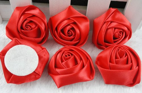 YAKA 30pcs Handmade stereo Fabric Rose Flowers for DIY Headdress Flowers Headbands Clips ,Rose Wedding Decor Hair Bow Appliques Craft Sewing Accessories Red