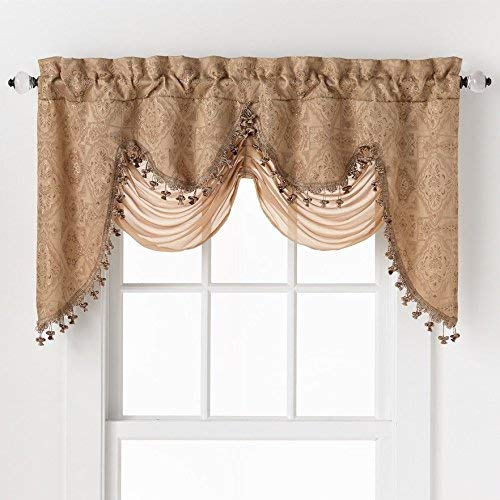 GoodGram Ultra Elegant Clipped Jacquard Georgette Fringed Window Valance with an Attached Sheer Swag Assorted Colors (Gold) (And Curtains Window Valances)