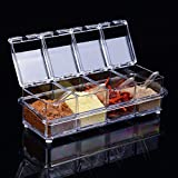 ParaCity Seasoning Box 4 Piece Acrylic Spice Rack Storage Container Condiment Jars Cruet with Cover and Spoon Kitchen Utensils Supplies(Crystal Clear) by Paramount City