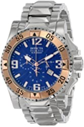 Invicta Men's 10889 Excursion Reserve Chronograph Blue Textured Dial Stainless Steel Watch