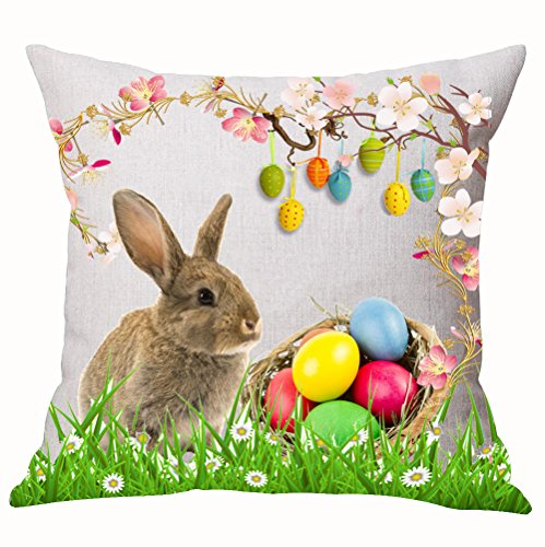 - Happy Easter Oil Painting Smile Rabbit Bunny Butterflies On Green Grass Cotton Linen Decorative Throw Pillow Case Cushion Cover Square 18