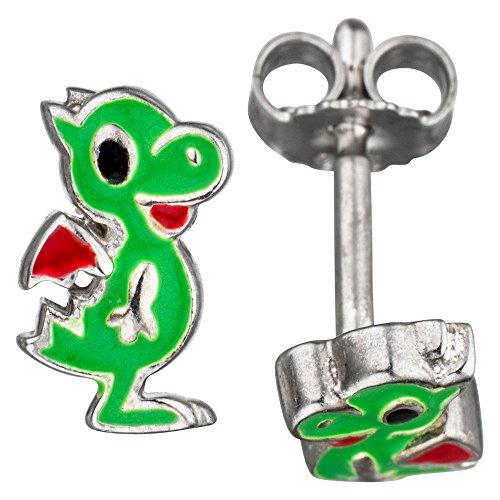 Jobo Niños joyas Juego de pequeño dragón 925plata verde lacado con cadena 38cm