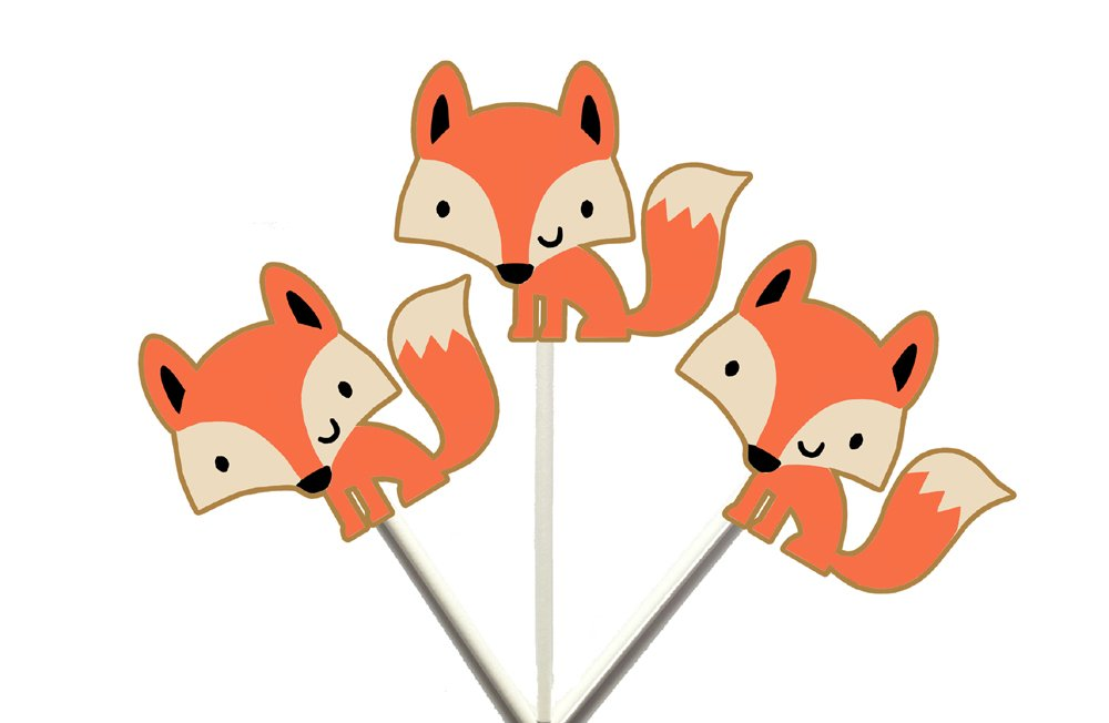 Fox Cupcake Toppers, Woodland Animal cupcake toppers, Forest Animal Cupcake Toppers
