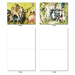 """M6468OCB Hieronymus Bosch: 10 Assorted Blank All-Occasion Note Cards Featuring Fun and Fantastical Images from the Famous Painting """"Garden of Earthly Delights"""", w/White Envelopes."""