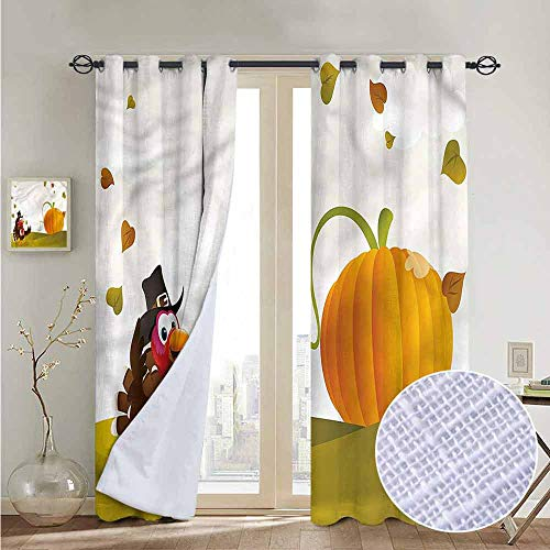 (NUOMANAN Curtains Turkey,Happy Pilgrim Theme,Treatments Thermal Insulated Light Blocking Drapes Back for Bedroom 52