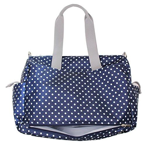 Damero Pflegetasche Tragetasche Wickeltasche Windeltasche mit Floral Designer (Blau Dots)