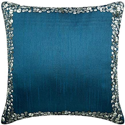 The HomeCentric Decorative Royal Blue Euro Pillowcases 26×26 inch 65×65 cm , Silk Euro Pillow Cases, Bordered, Sequins Embellished, Modern Euro Size Pillowcases – Royal Blue Silver