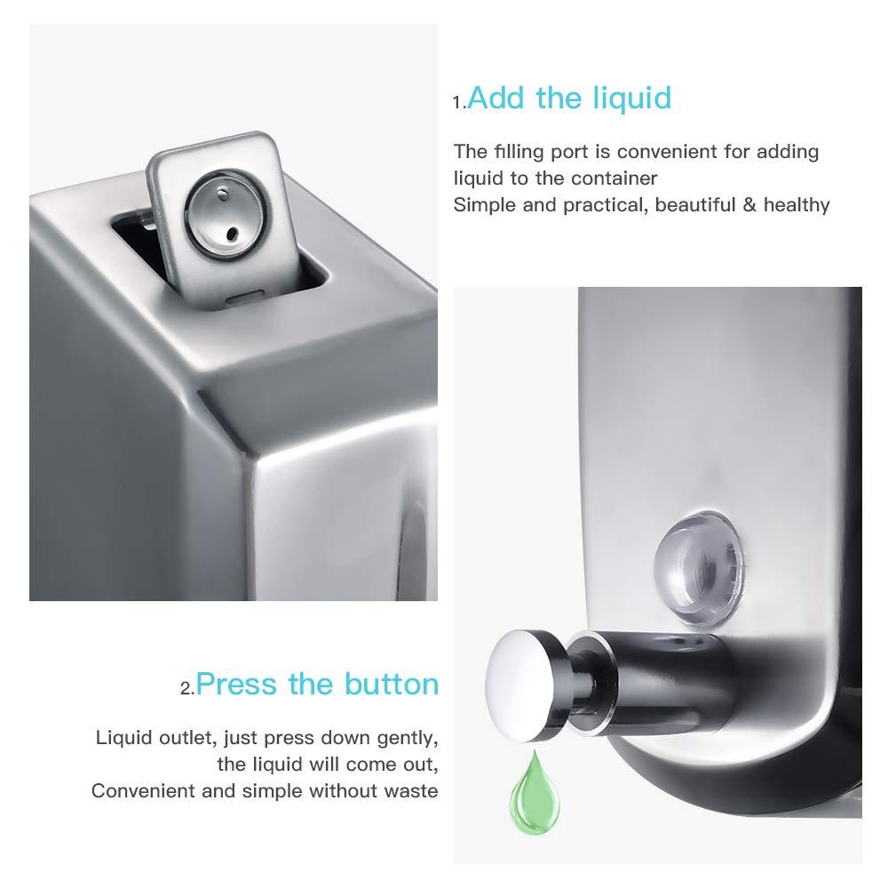 PLUSSEN Wall Mounted Commercial Soap Dispenser 304 Stainless Steel Metal Soap Dispenser for Bathroom Restaurant Kitchen 500ml 17oz Wall Soap Dispenser