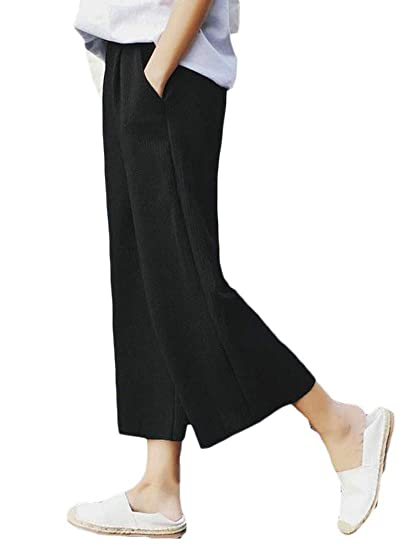 8a4dc3feb48 Lutratocro Womens Wide Leg Elastic Waist Casual Ribbed Knit Palazzo Ankle  Pants at Amazon Women s Clothing store