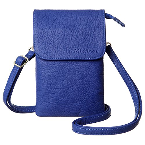 Mini Blue Wallet (MINICAT Women Synthetic Leather Small Crossbody Bag Cell Phone Purse Wallet(Blue))
