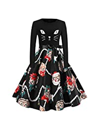 FarJing Womens Christmas Dress Long Sleeve Cats Bow Tie Notes Vintage Party Dress