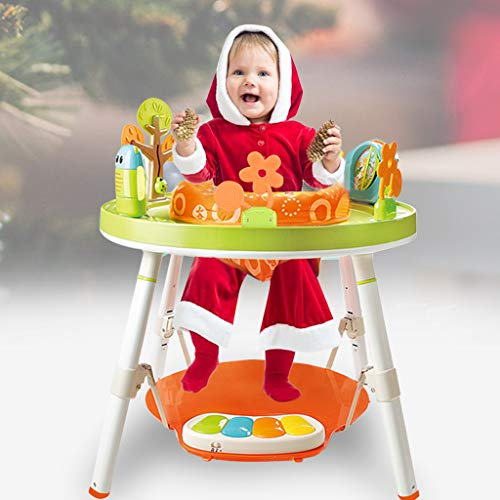 Happy Jumping Chair Multi-Function Activity Game Table Baby Bouncing Chair Fitness Frame Baby Toy Three-in-One Children Fun Activity Workbench with Pedal Piano (Lion Style)